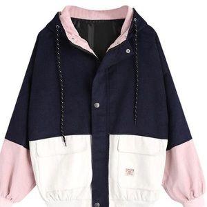 Color Block Corduroy Jacket White/Pale Pink/Navy